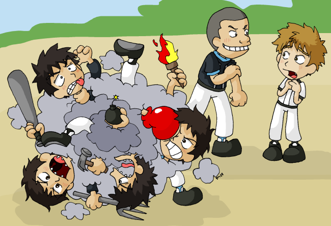 cartoon characters fighting. The last of the cartoon cliche